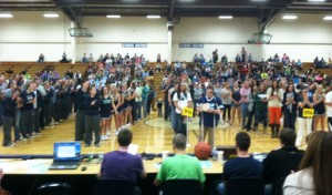 MVNU student athletes took the gym floor for the final time in the Physical Education Center during Senior Night for the men's basket- ball team. The Cougars lost 63-69 to Spring Arbor (Mich.) University. Photo Courtesy of MVNU's SID Office