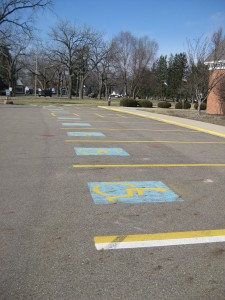 There are eight handicapped parking spots located on the south side of the chapel. Photo by Bethany Flanagan