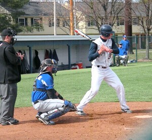 Junior Seth Eller stares down the pitcher in a game versus University of St. Francis (Ind.) last year. Eller batted .352 with 35 RBIs in 2012. Photo courtesy of Dave Parsons